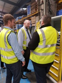 Jan Britton tours the Latham's  manufacturing facility