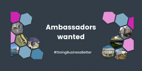 """A Sandwell Business Ambassadors poster with the text """"Ambassadors wanted""""."""