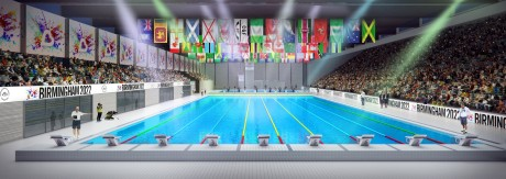 Computer generated image of the Sandwell Aquatics Centre swimming pool with international flags hanging at one end and an audience on two sides of the pool