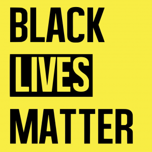 Black Lives Matter logo in black and yellow