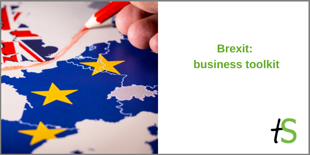 Brexit for business Think Sandwell banner with map of Britain being separated from the rest of Europe with red pencil crayon line