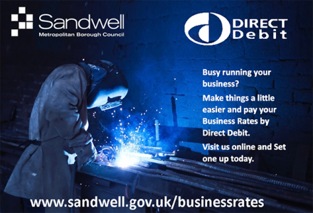 An advert by Sandwell Council for businesses to pay their business rates by direct debit