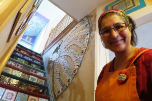 Mosaic artist Caroline Jariwala at home in Bearwood