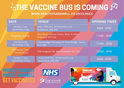 The vaccine bus is coming -a poster giving details of vaccination dates and venues which you can also find in the body of this article