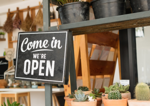 """A small sign hanging from a shelf with cacti in small pots - the sign says """"Come in, we're open"""" in white text on a black background to look like a chalk board."""