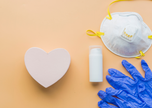 PPE equipment for the workplace, including a heart-shaped cotton swab