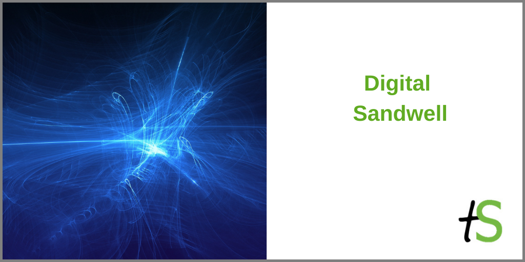 Digital Sandwell banner with abstract depiction of 'digital' (blue scattered light) and Think Sandwell logo