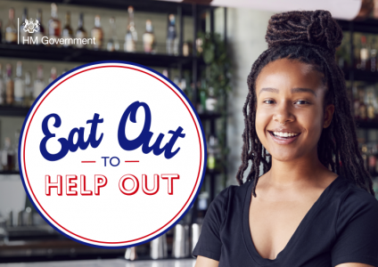 Eat Out to Help Out logo on a photo of a smiling girl in a bar