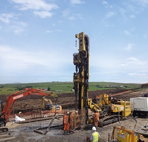 Mine workings stabilisation and civil infrastructure work carried out by Forkers for a wind turbine project at Higher Micklehurst in Lancashire