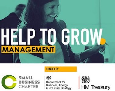 A green tinted image of a smiling woman with the text 'Help to Grow Management' with accompanying organiser logos