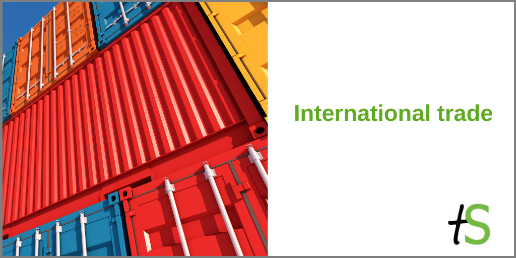 International trade banner with Think Sandwell logo and colourful shipping containers