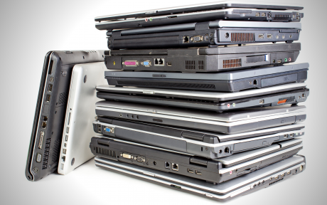 A pile of laptops
