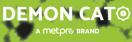 Demon Cato logo on a green background with the text 'a Metpro Brand'