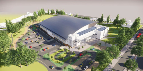 A computer generated artist's impression of the proposed Sandwell Aquatics Centre