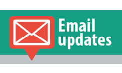 Email icon with text saying Email updates
