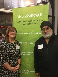 Nicy Morgan of Think Sandwell and Mohinder Singh Saimbhi of Kenya Tea Industries West Bromwich