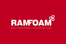 """Ramfoam logo on red background with the text """"Engineering innovation"""" underneath"""