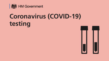 Government logo and text saying Coronavirus (Covid-19) testing on a pink background with a graphic of two test tubes