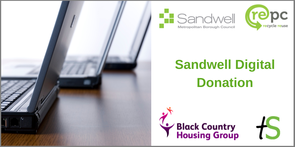 Sandwell Digital Donation banner with image of laptops and logos from Sandwell Council, REPC Ltd, Black Country Housing Group and Think Sandwell