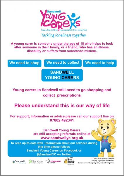 Sandwell Young Carers during covid-19 outbreak flyer