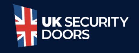 UK Security Doors logo with a Union Jack flag