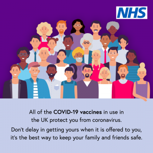 A drawing of 25 diverse people with text urging everyone to get the Covid-19 vaccine and an NHS logo in the corner on a purple background