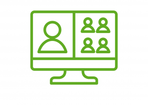 Simple graphic of a computer screen - green outlines on a white background