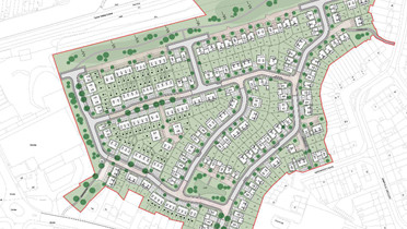 An aerial view plan of houses to be built on former tip site