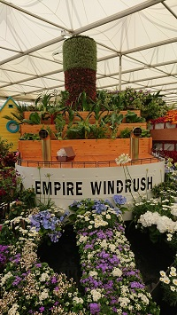 Birmingham Parks & Nurseries' display for the Chelsea Flower Show 2018 celebrated 70 years since the Windrush passengers came to live in Britain