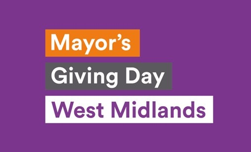 A poster for West Midlands Mayor's Giving Day with the date Tuesday 22 September 2020 in white text on a purple background.